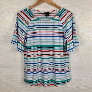 New Directions Colorful Stripe Ruffle Sleeve Top